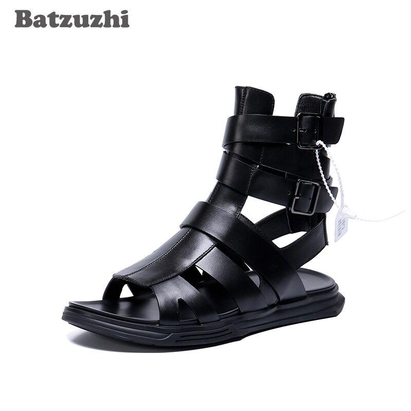 La fiesta De Cuero Zapatos Sandalias Verano Punk casual Batzuzhi Negro Hombres Moda Playa Los Hombre qtndwwg7