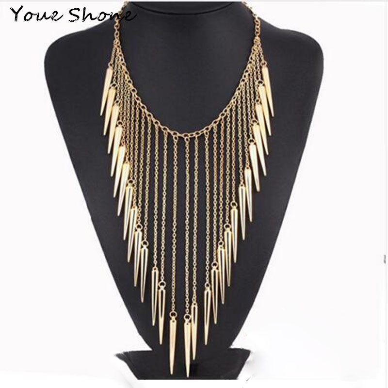 Hot sale Exaggerated willow bullet tassel necklace Women's punk wind long necklace Metal alloy jewelry accessories For women