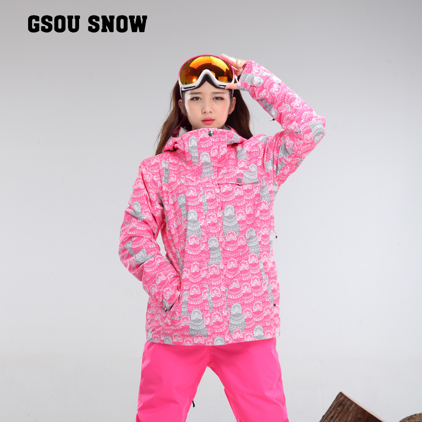 Livraison gratuite veste imperméable Gsou neige ski costume ensemble femmes snowboard vestes montagne ski costume femmes ski vêtements ensemble