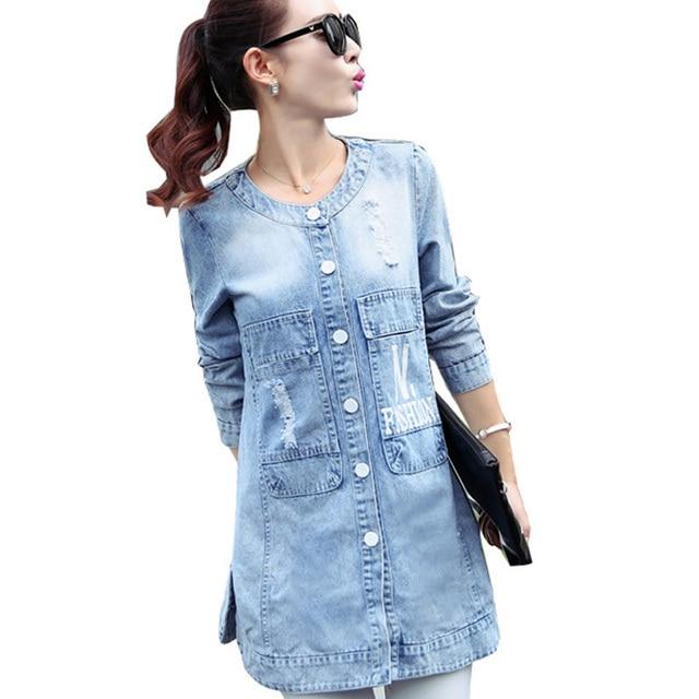2016 Nuevo Estilo de Invierno Mujeres Abrigos O-cuello de Manga Larga Carta Ripped Frayed Denim Largo Trench Coat Plus Tamaño 4XL de Las Mujeres Jeans Coat