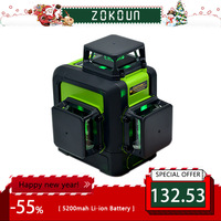 Zokoun 3 x 360 3D green beam Lines Laser Level with 5200mah LITHIUM BATTERY and Horizontal And Vertical Lines Working Separately