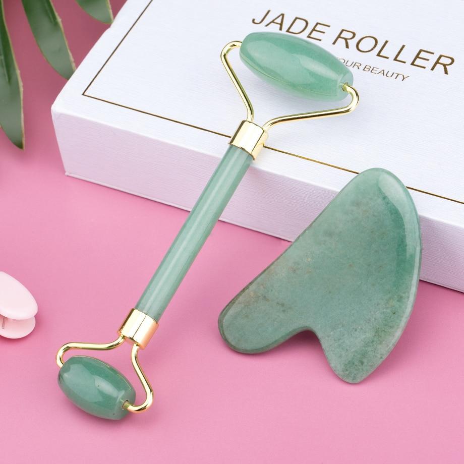 Rose Quartz Jade Rolle Face Massager Lifting Slim Massage Natural Stone Crystal Slimming Shaper Beauty Health Care Tools Wrinkle