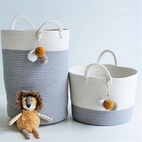 Cotton Rope Woven Basket for Toys Foldable Hamper Pompom Laundry Basket Washing Dirty Clothes Storage Bin Cesta Mimbre