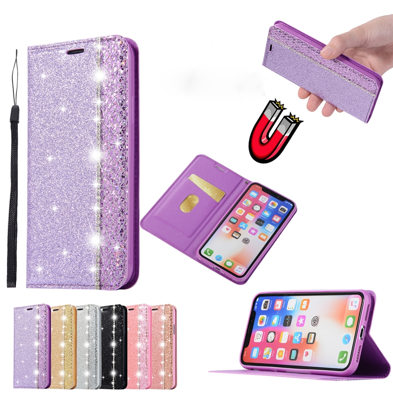 For iphone XS MAX 8 Glitter PU Leather Case Wallet Flip Coque Cover For iphone 7 8 plus XS iphone 6 s 6s plus XR 5 5s SE Case