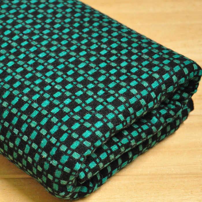JaneYU ciemny niebieski biały wełniany tkanina w kratę jesień i zima garnitur spódnica tkaniny 50x150 cm