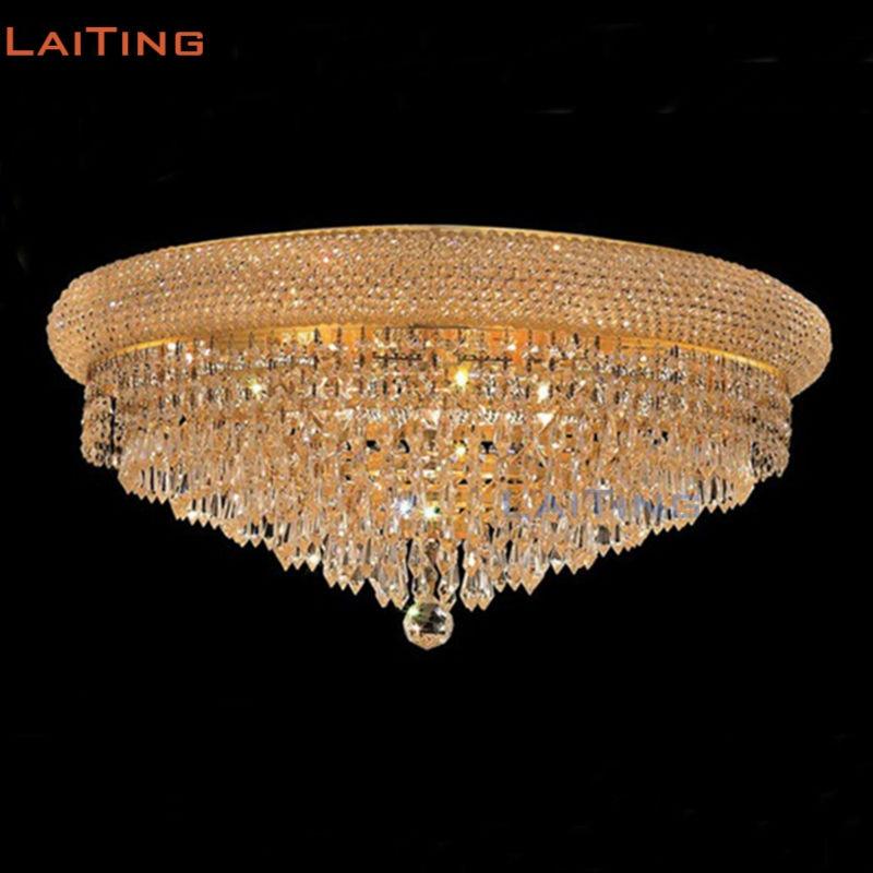 LAITING Dia 50CM Elegant Flush Mounted Kitchen Ceiling Lamp Classic K9 Crystal Ceiling Light Gold for Bedroom LT-51192