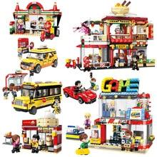 Colorful City Streetscape Car Hotel Figures Model Building Blocks Sets Kids Toys Legoes Bricks for Children Gifts цены