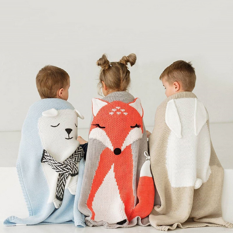 Toddler Boys Girls Knitted Blanket Cute Bear Sleeping Swaddling Blankets Baby Bed Cover Soft Bath Towel Kids Wrap Beach Mat new baby blankets wrap soft blankets baby toddler bedding knitted newborn cute fox swaddling bed sofa blanket mat kids gift