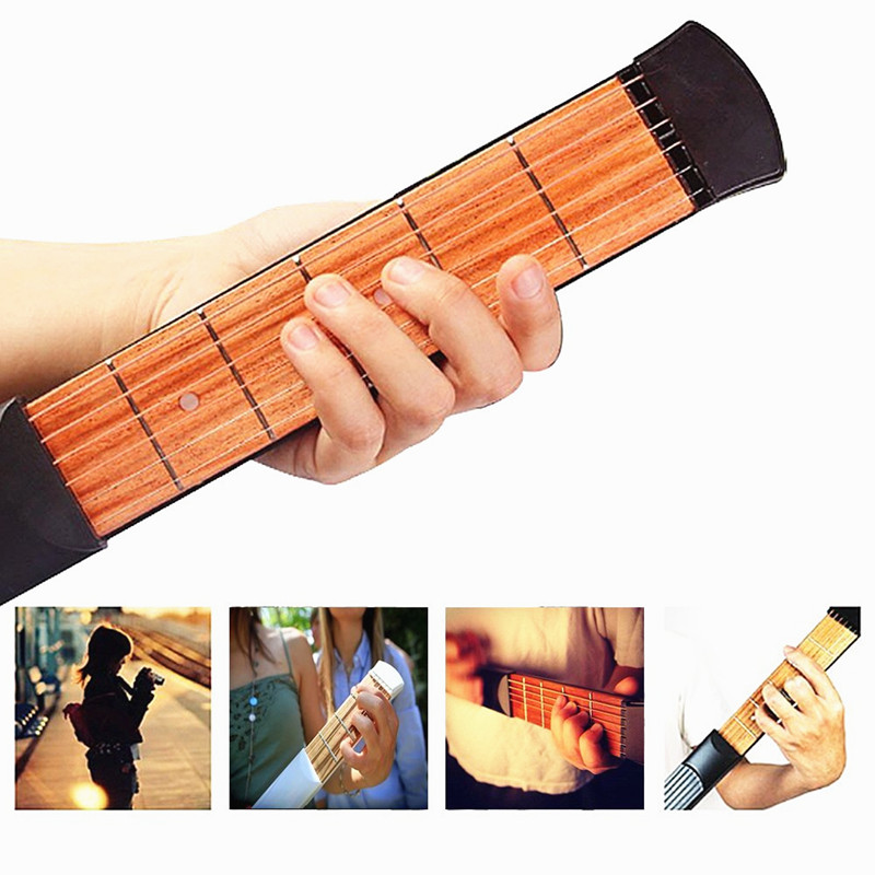 ZONAEL Portable Pocket 6 Fret Model Wooden Practice 6 Strings Guitar Trainer Tool Pocket Guitar Finger Exerciser