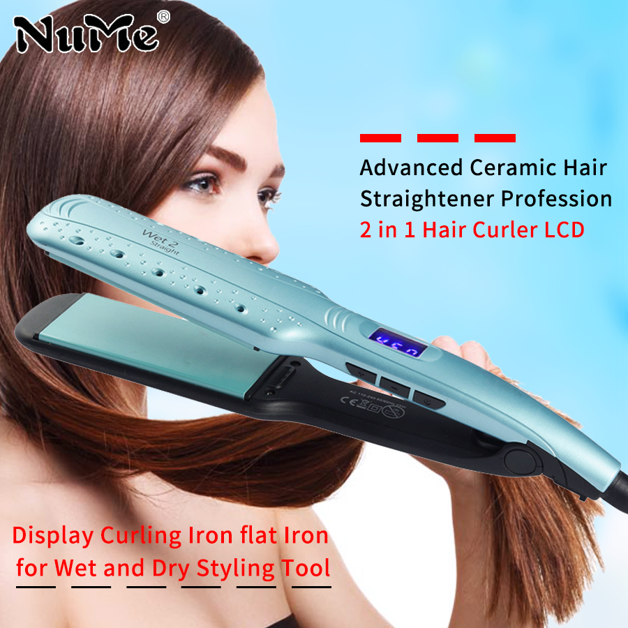 Advanced Ceramic Hair Straightener Steam 2 Inch Straightening Iron Salon Styling Tools Negative Ionic Flat Iron Hairstyle