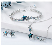 Cdyle Crystals From Swarovski S925 Sterling Silver jewelry Women Necklace Bracelet Earrings sets Valentine's Day Party Gift