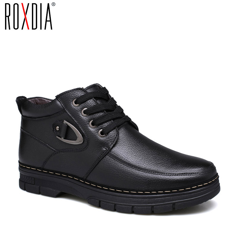 ROXDIA winter snow leather men boots warm fur ankle boot waterproof for father male shoes 39-44 RXM066 roxdia genuine leather men ankle boots snow winter warm fashion work male waterproof for mens shoes plus size 39 48 rxm051