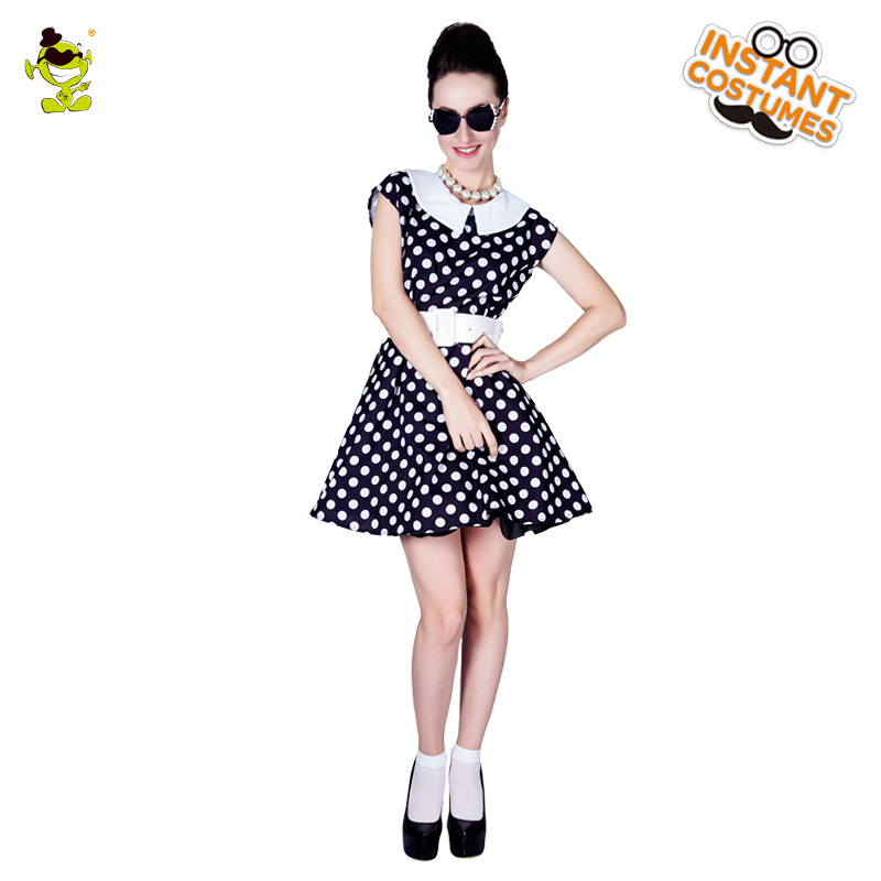 New Women's 50's Black Retro Ladies Polka Dot Costumes Women Carnival Greased Lady Cosplay Sexy Rock Fancy Dress costumes