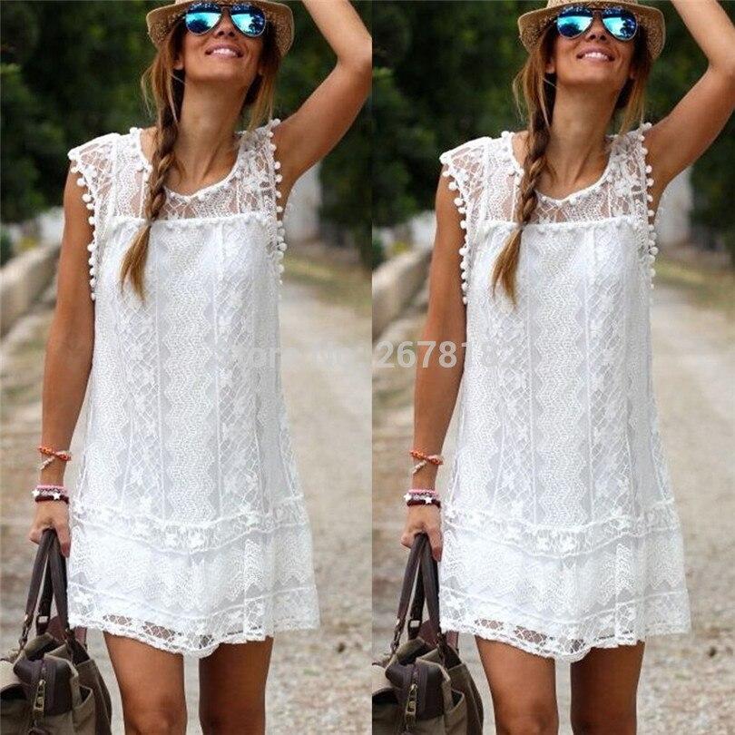 632ca929d923 Summer Dress 2018 Women Casual Beach Short Dress Tassel Black White Mini Lace  Dress Sexy Party