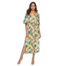 cd2bad1f5f35 Mujer de verano frío hombro de vacaciones vestido Casual ropa de las señoras  vestido de fiesta