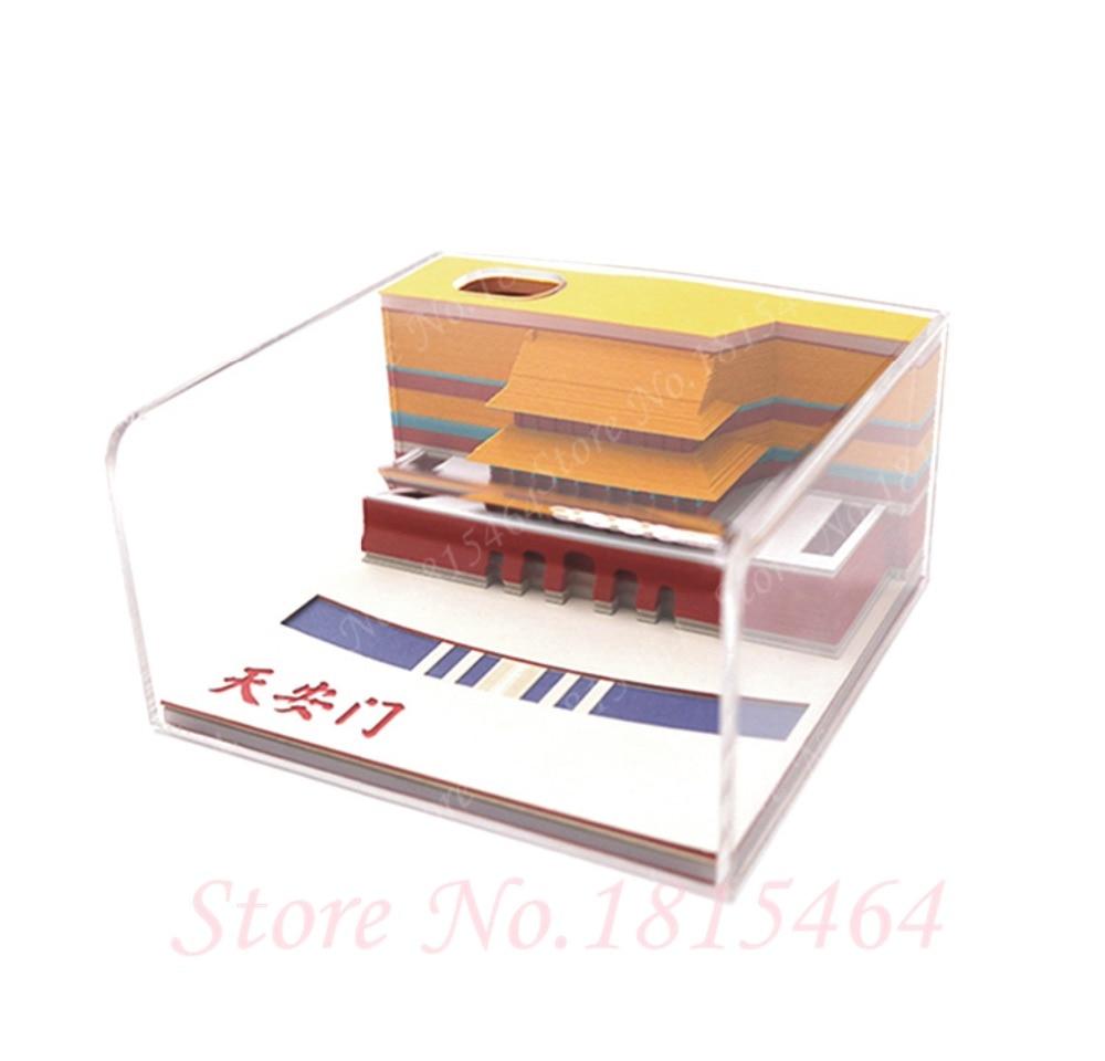 3D Tiananmen Notities Papier Creatieve Papier Netto Rode Stereo Stickers Aanwezig Wereld Architectonische DIY Cultuur Model Gift Decoratie - 2