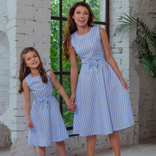 New Womens Bow Plaid Round Neck Parent-child Dress Fashion Family Matching Clothes