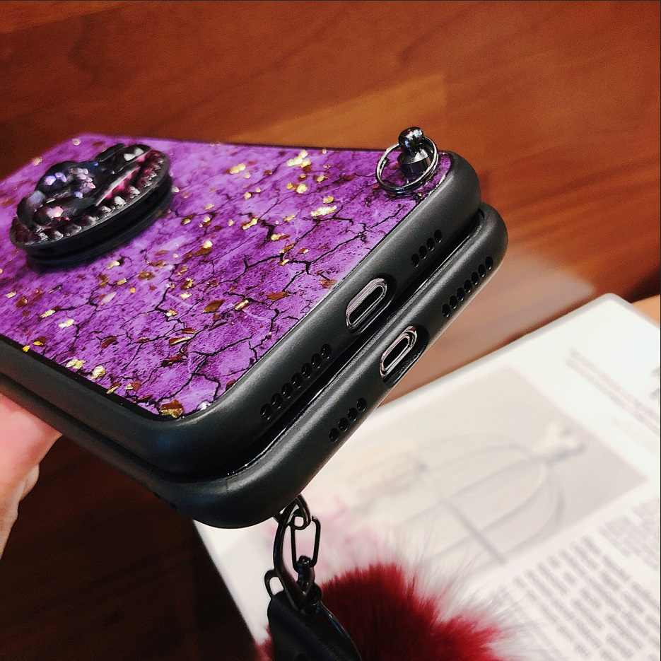 For Iphone 6 6s 7 8 Plus X Crackle Diamond Ruby Sapphire Crack Wool Rope  Hair Ball Popsocket for Mobile Phones Fornite Shell