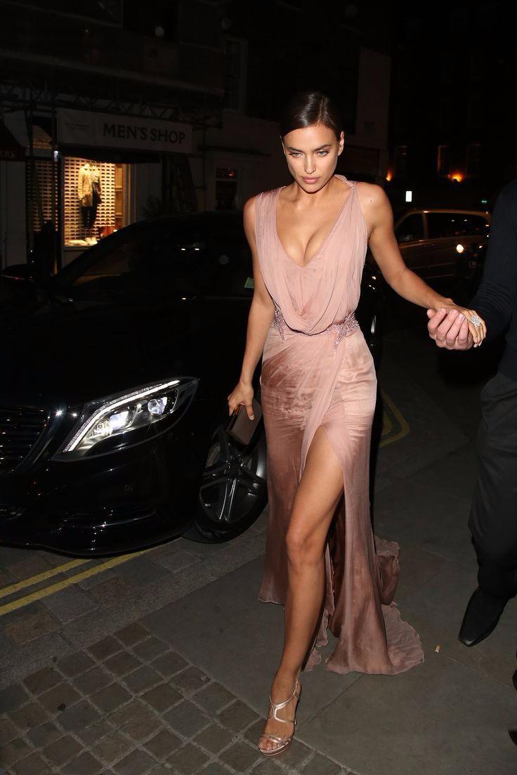 2015-Irina-Shayk-Sexy-Celebrity-Red-Carpet-Evening-Dresses-New-A-Line-Champagne-Deep-V-Neck