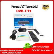10pcs Freesat V7 t2 Terrestrial hd Digital tv satellite decoder digital receiver DVB-T2 full HD optional usb set top box