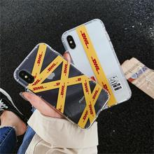 Simple Personality Couple Dhl Pattern Phone Cover Case For Iphone X Xs Max Xr 10 8 7 6 6s Plus Luxury Soft Silicone Coque Funda