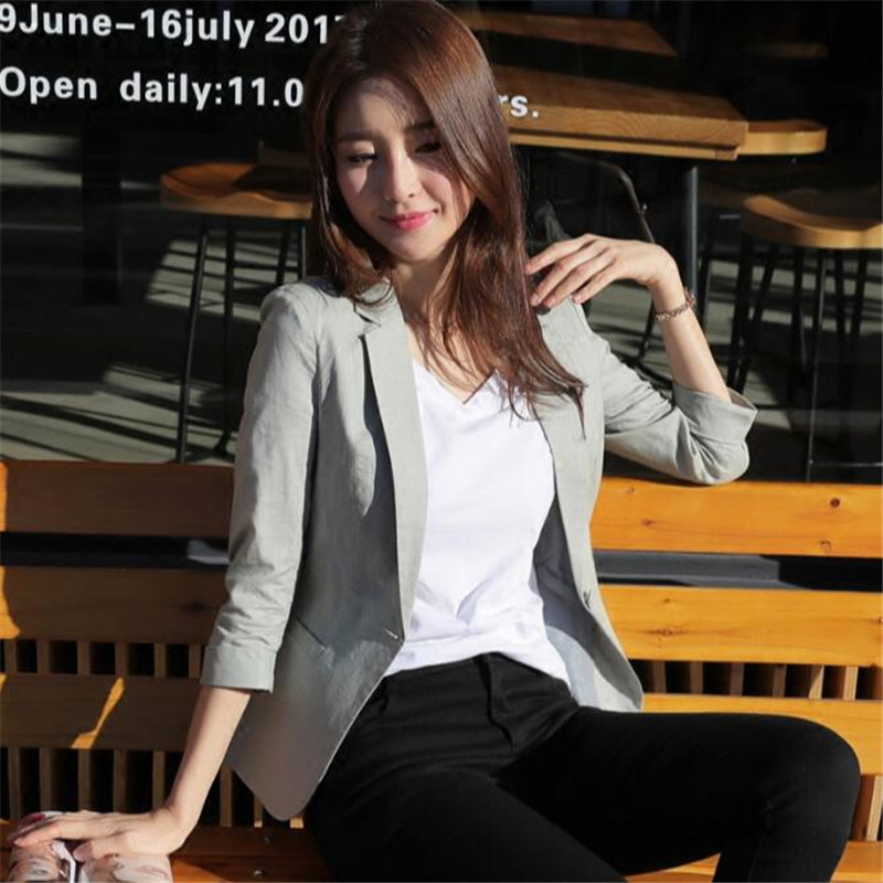 New Women Blazer Jacket Single Button Women Suit Jacket Fashion Casual Linen Blazer Plus Size 2018 Thress Quarter Sleeve Ma462