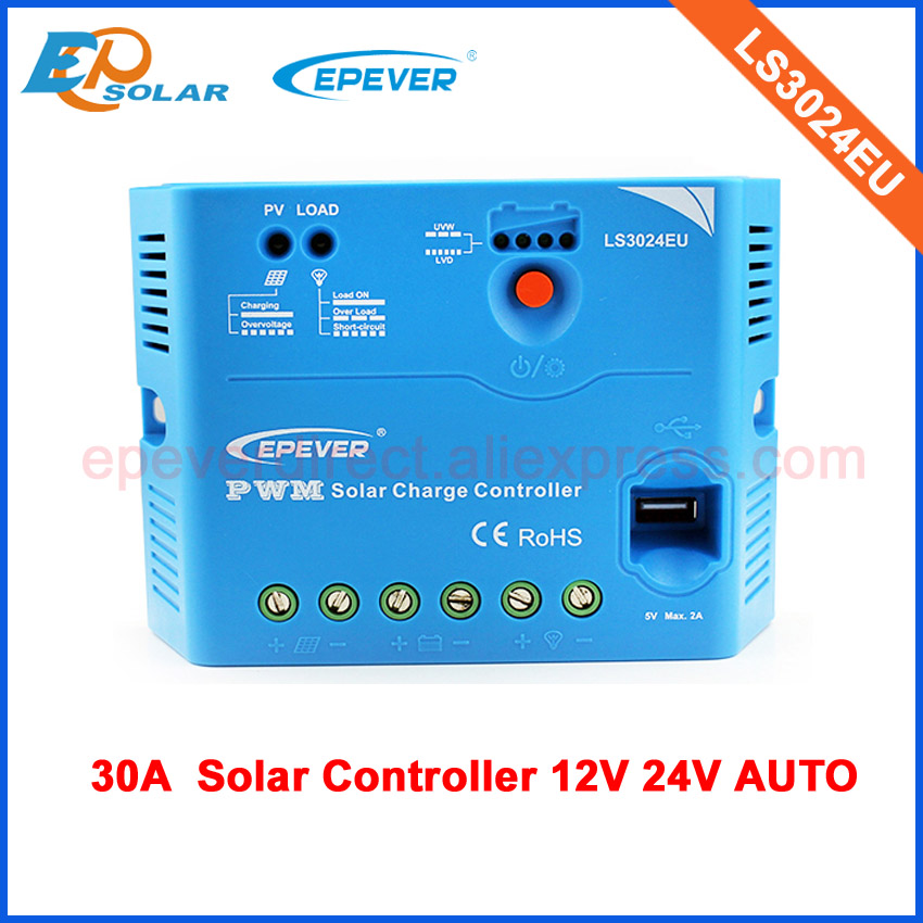 solar battery charger EPsolar controller with USB output charge for mobile phone PWM LS3024EU 30A 30ampsolar battery charger EPsolar controller with USB output charge for mobile phone PWM LS3024EU 30A 30amp
