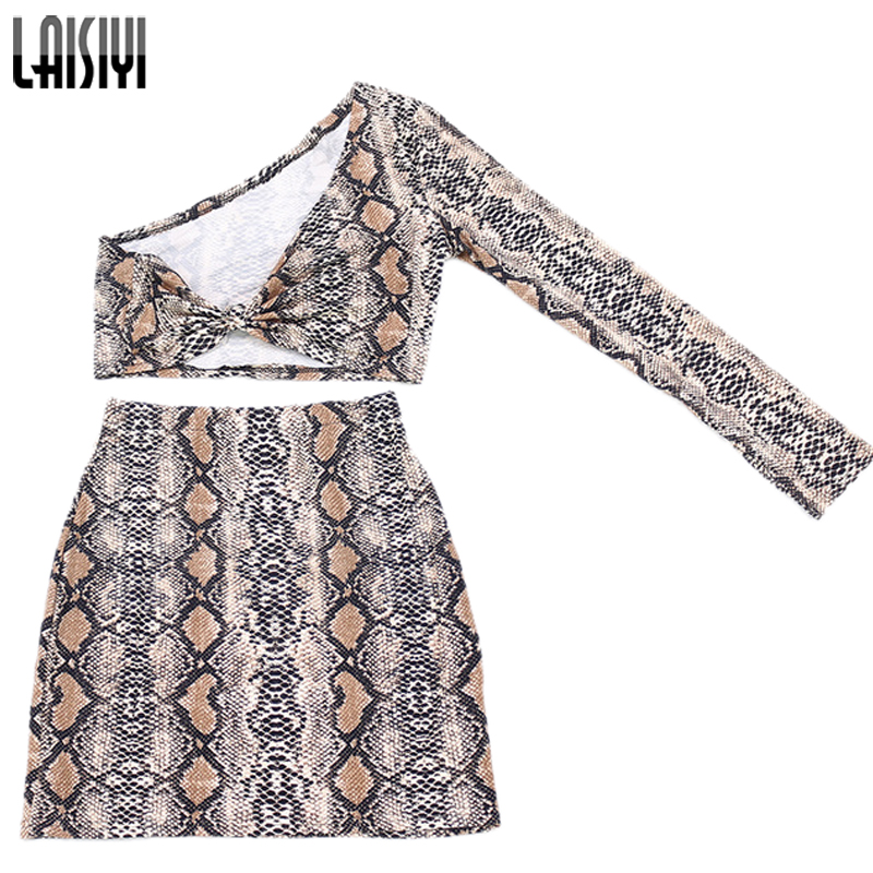 LAISIYI Fashion Snake Two Piece Set Women Autumn Winter One Shoulder Crop Top High Waist Skirt Sexy Club Party Printed Suits Hot