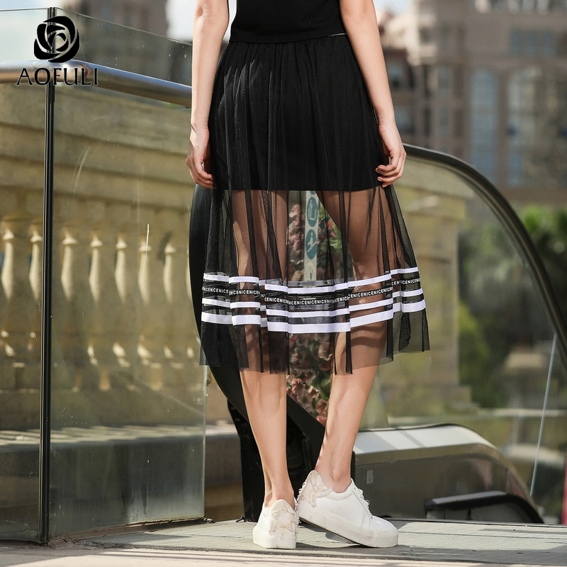 74a7aa4179b AOFULI Sexy Plus Size Tulle Skirt Summer See through Black Mesh Letters  Print Stripe Patchwork Midi Skirt L XXXL 4XL 5XL A3593-in Skirts from  Women s ...