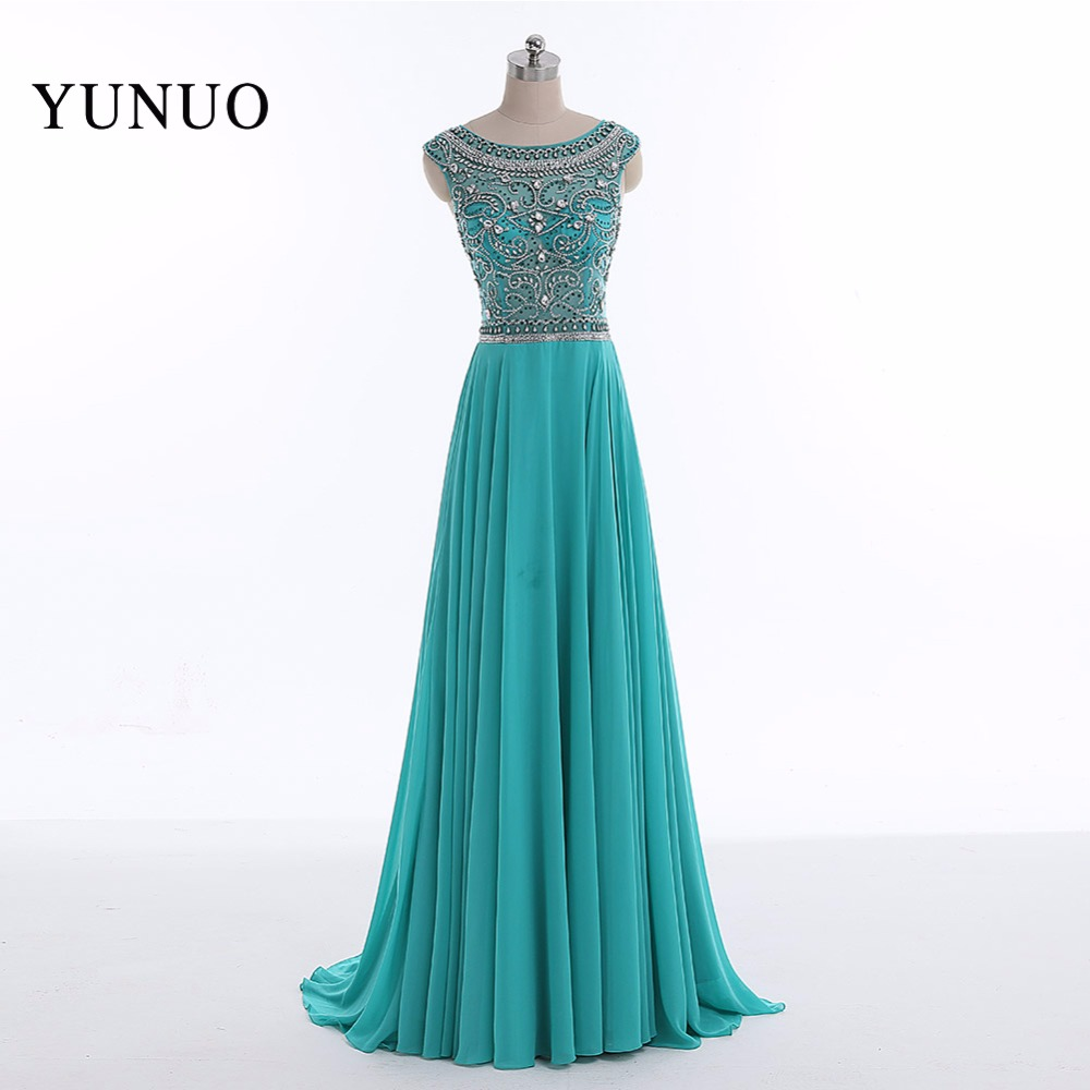 New Arrival Chiffon A Line Scoop Neck Long Evening Dresses 2019 Beading Sequined Backless Floor Length Evening Dress YN52801