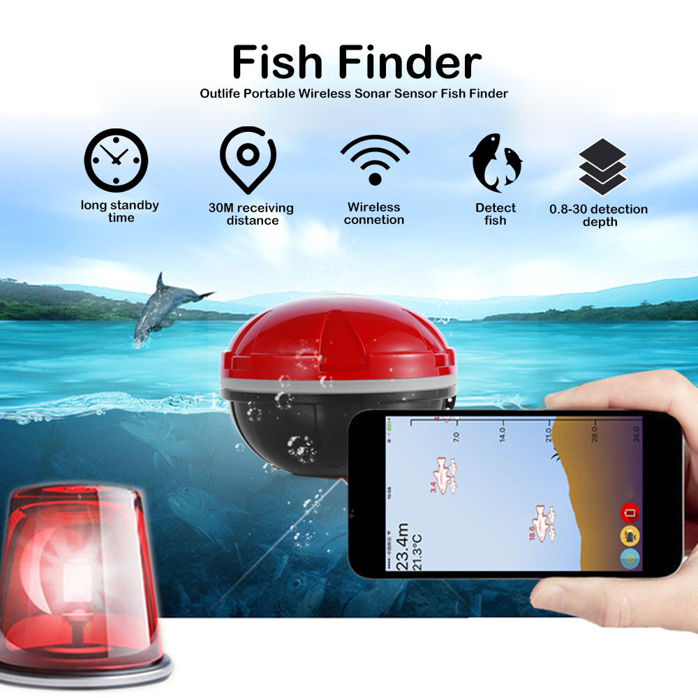 Outlife Smart Fish Finder Sonar Echo Sounder Sea Lake Fishing Detect iOS Android App Fishfinder Wireless