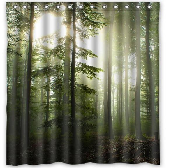 Custom Sunshine Forest Fashion Home Living Waterproof Bathroom Nice Best  Decor Shower Curtain 150x180cm Home Decoration