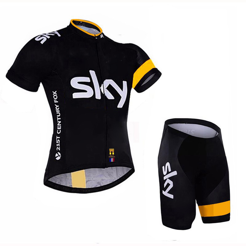 цена на SKY 2018 cycling jersey Short sleeve pro team bike bib pants set Ropa ciclismo men bicycle Sportwear Outdoor quick drying