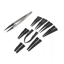 Vetus ESD 259 high quality Handle Stainless Tweezers with 8pcs Exchengeable Antistatic plastic Tips suit for different work