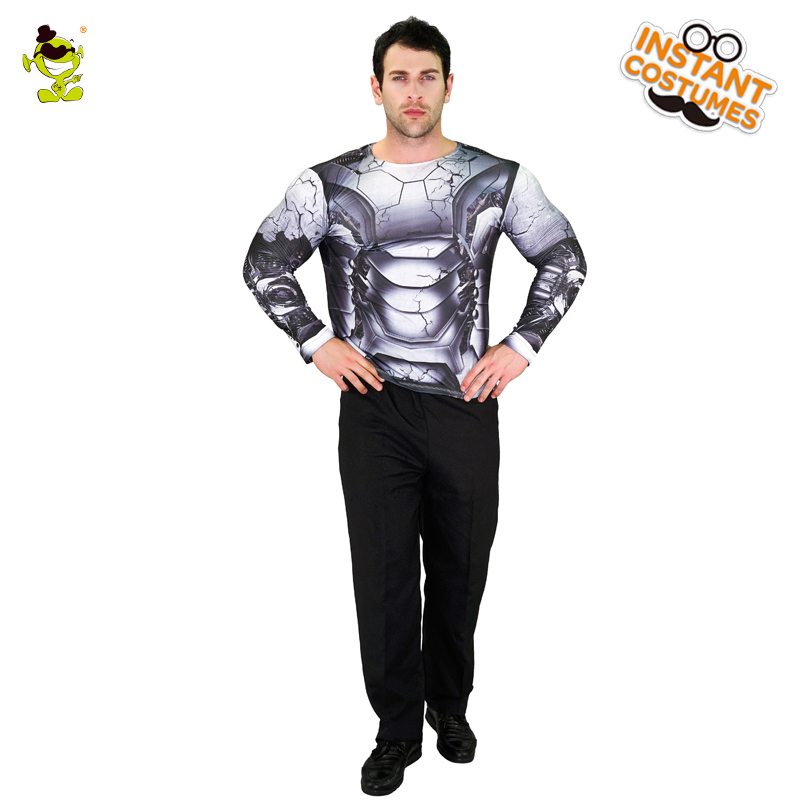 2018 Adult Men's 3D Digital Printing T-Shirt Popular Robot Long Sleeve Clothes For Party  Role Play Robot Costumes