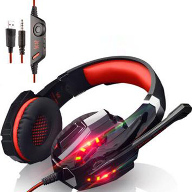 NDJU Bass Gaming Headphones PS4 Headset Gamer Headset with 3.5MM LED Light Headphone for PC computer laptop PS4 mobile phones