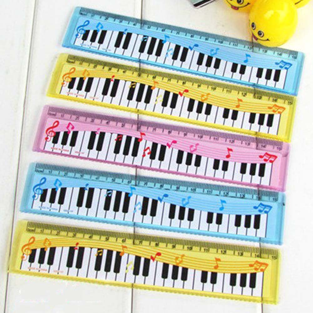 Creative Long 15cm Cartoon Piano Musical Note Ruler Bookmarks School Student Gift  Ruler Color Random School Supplies
