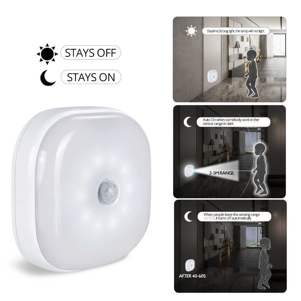 Foxanon Under Cabinet Light PIR Motion Sensor Lamp Wireless Smart LED Puck Night Light For Warbrobe Closet Stair Bedroom Kitchen