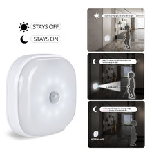 Foxanon Under Cabinet Light PIR Motion Sensor Lamp Wireless Smart LED Puck Night Light For Warbrobe Closet Stair Bedroom Kitchen(China)