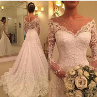 2019 vestido de noiva V neck wedding dresses lace applique Long Sleeves wedding gown Zipper back buttons marriage robe de soiree