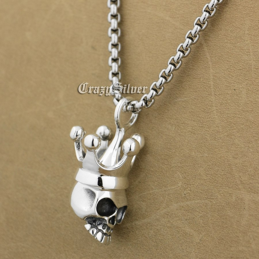 925 Sterling Silver Crown Skull Pendant Mens Biker Rock Punk Pendant 9S009 Stainless Steel Necklace 24 100% 925 silver skull hand pendant vintage sterling rock necklace pendant hiphop man pendant