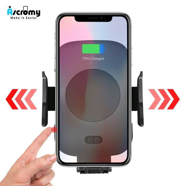 Ascromy coche cargador inalámbrico de Sensor de infrarrojos para Apple iPhone XS Max XR 8X8 Plus, Samsung Galaxy Nota 9 S9 s8 rápido QI cargador de coche