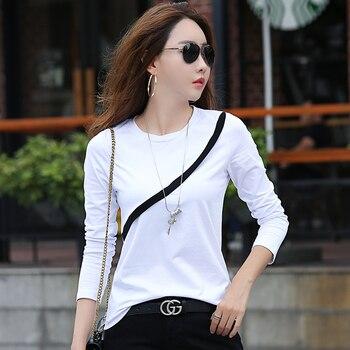 7d860c6593 Otoño Invierno T camisa mujeres Camiseta de manga larga camisetas de algodón  para las mujeres de Color sólido Casual Tee superior nuevo diseño camiseta  ...