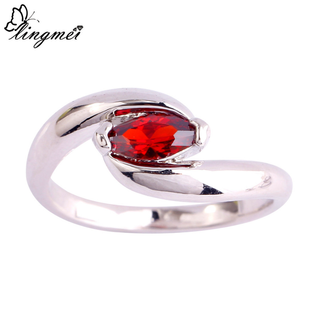 lingmei Wholesale Nice Jewelry Marquise Cut Garnet  Silver Ring Size 6 7 8 9 10 11 Fashion Women Wedding Rings Free Shipping