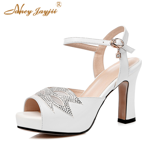 868aad6206b4 Genuine Leather Woman Sandals Black White Pink Square Chunky Heel Platform  Ankle Strap Cute Soft Party Dress Crystal Shoes