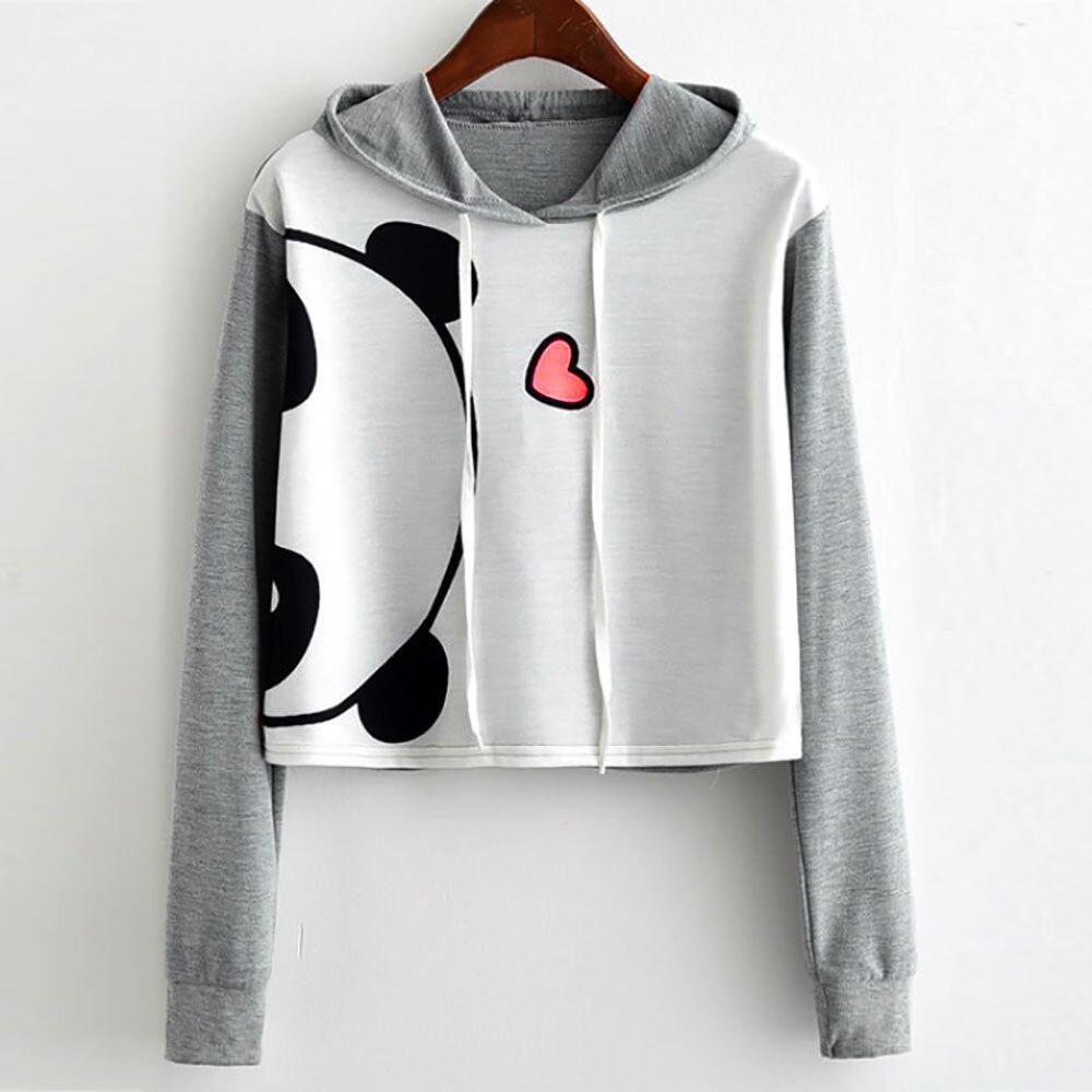 Praktisch 2018 Toevallige Sweater Vrouwen Leuke Panda Print Korte Sweatshirt Moletom Feminino Com Capuz Cropped Hoodie Groothandel Ag 15 Matching In Kleur