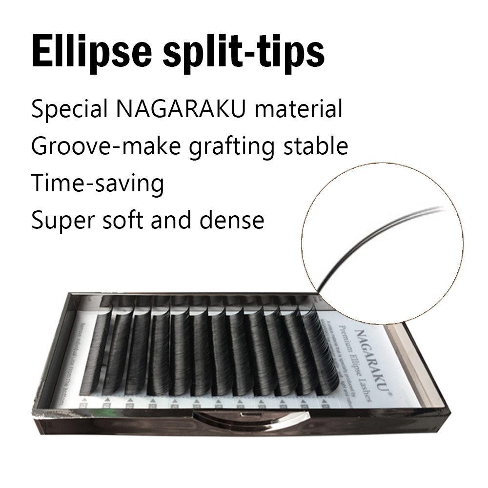 06050ca93f8 NAGARAKU 4 trays Flat Ellipse Eyelash Extensions split tips ellipse shaped  soft and natural false eyelash Faux mink 12 lines-in False Eyelashes from  Beauty ...