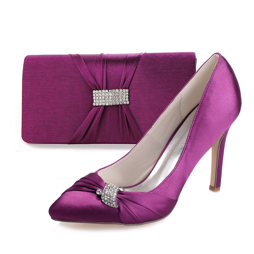 ФОТО Elegant purple pointed toe lady pumps with crystal rhinestone ring knot matching clutch bag for bridal wedding party prom event
