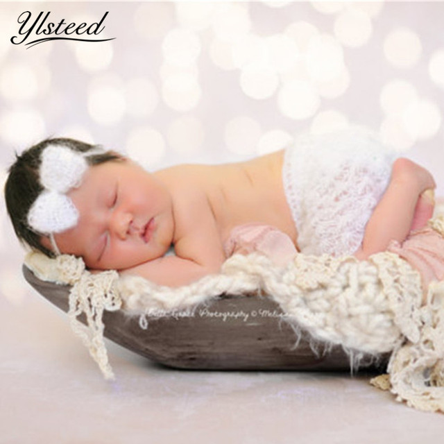 Soft mohair baby girl skirts headband set newborn photography props baby crochet costumes set for photo