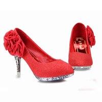 --- 2017NEW النساء أحذية الزفاف الأحمر القيعان منصة إسفين عالية الكعب مثير امرأة مضخات السيدات واشار تو أحذية الزفاف واحدة